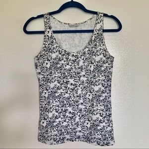 H&M Pima Cotton Navy and White Floral Tank